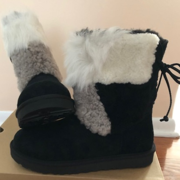 f55c7d5ccd9 UGG Patchwork Fluff Patchwork boots. Size 9 NWT